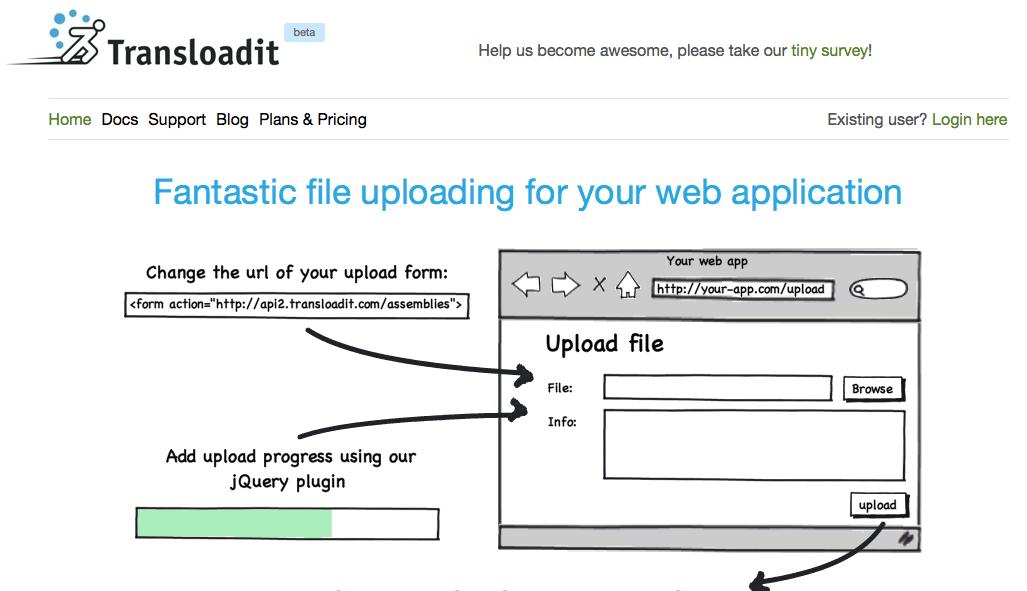 Transloadit – nem brugerupload fra hjemmesiden