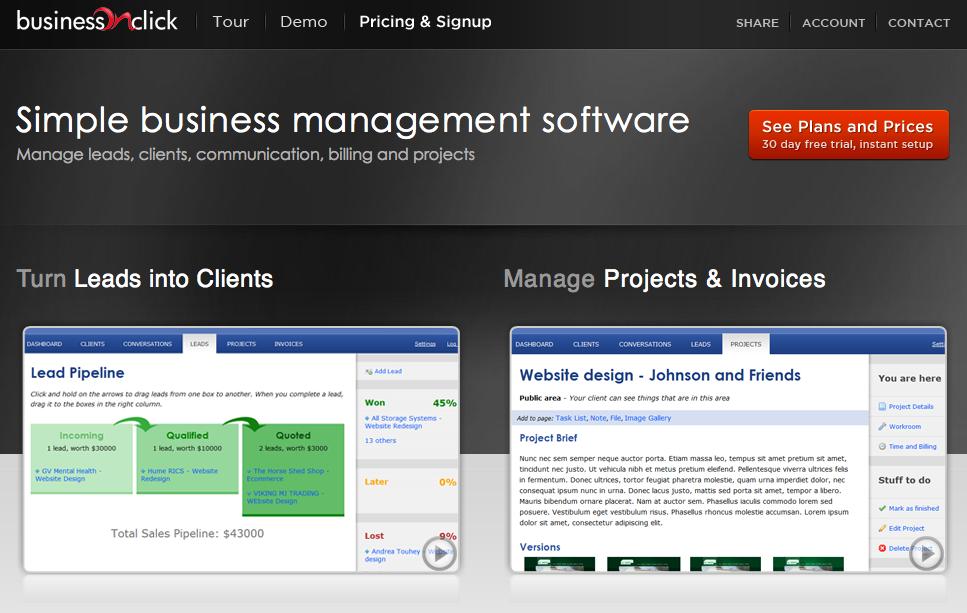 Business Click – management software skåret helt ind til benet