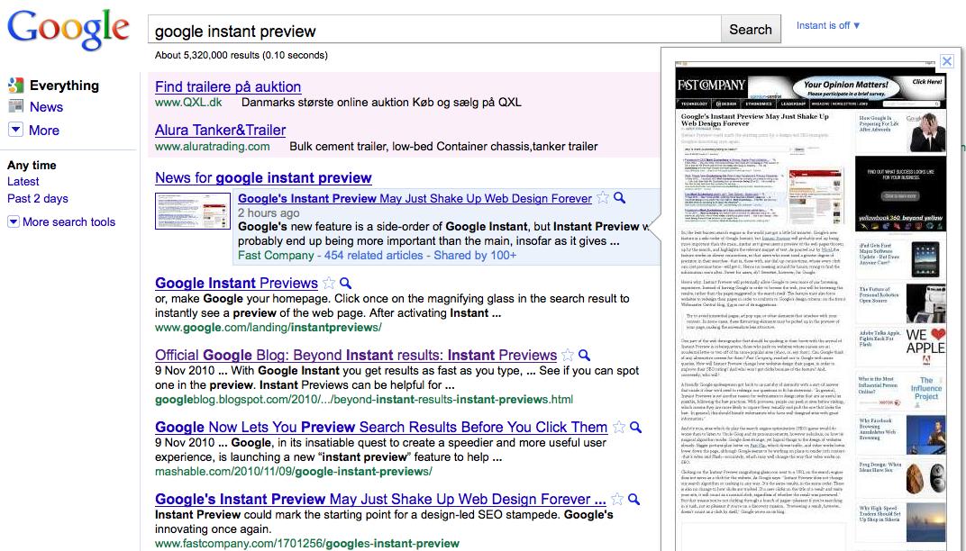 Google Instant Preview – et kig ind gennem nøglehullet