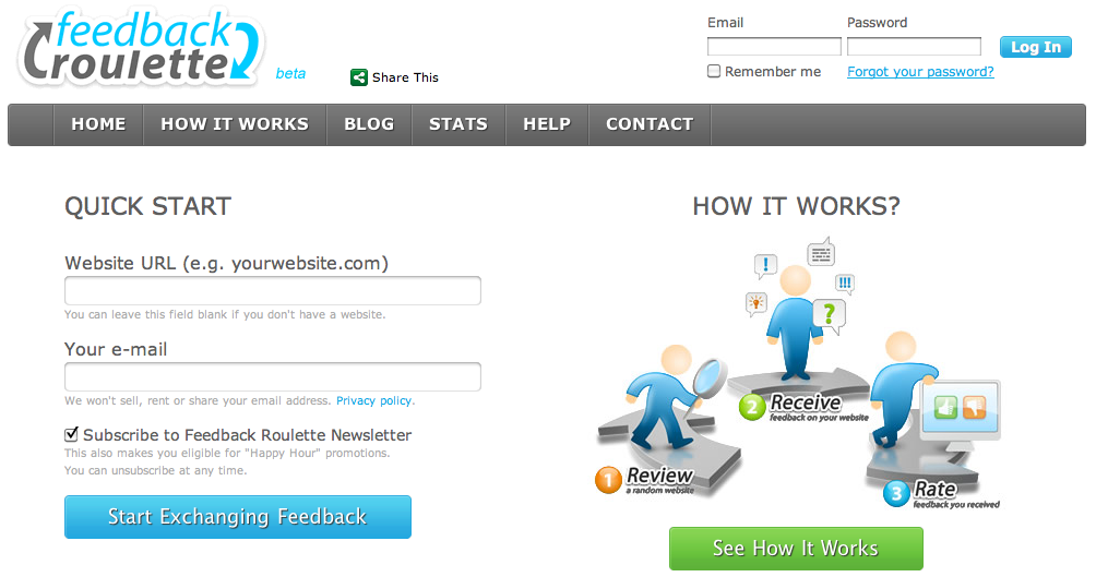 Feedbackroulette – Find ud af om din hjemmeside sælger