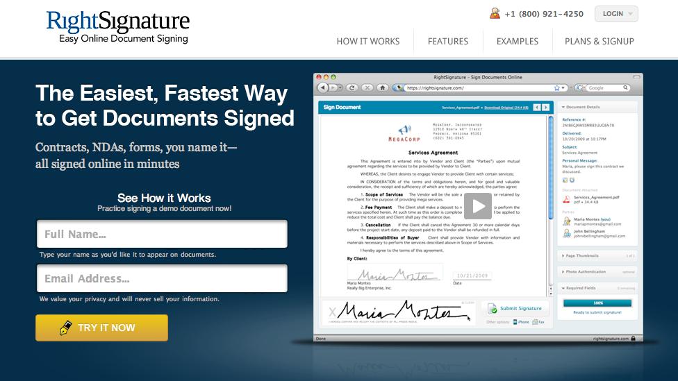 RightSignature – Få underskriften hjem hurtigst muligt