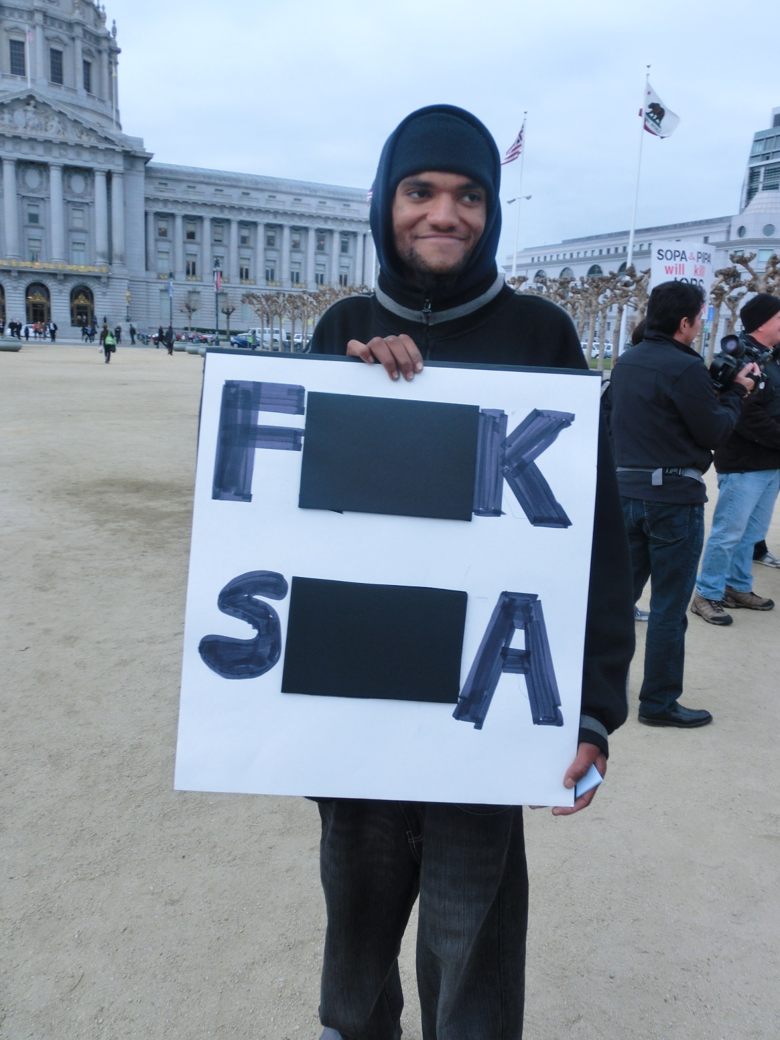 SOPA demonstration i San Francisco med tech-eliten