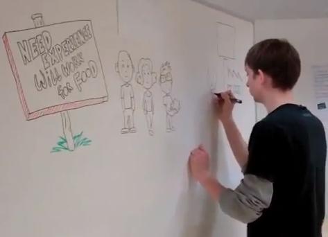 Illustrator på arbejde på Startup Weekend i Århus