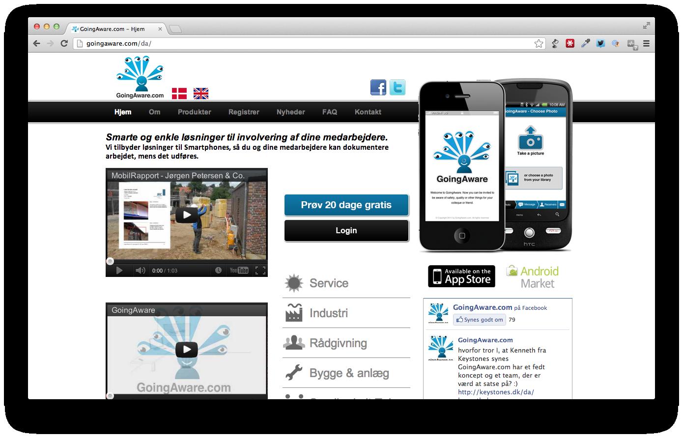 GoingAware.com dokumenterer arbejdet mens det udføres