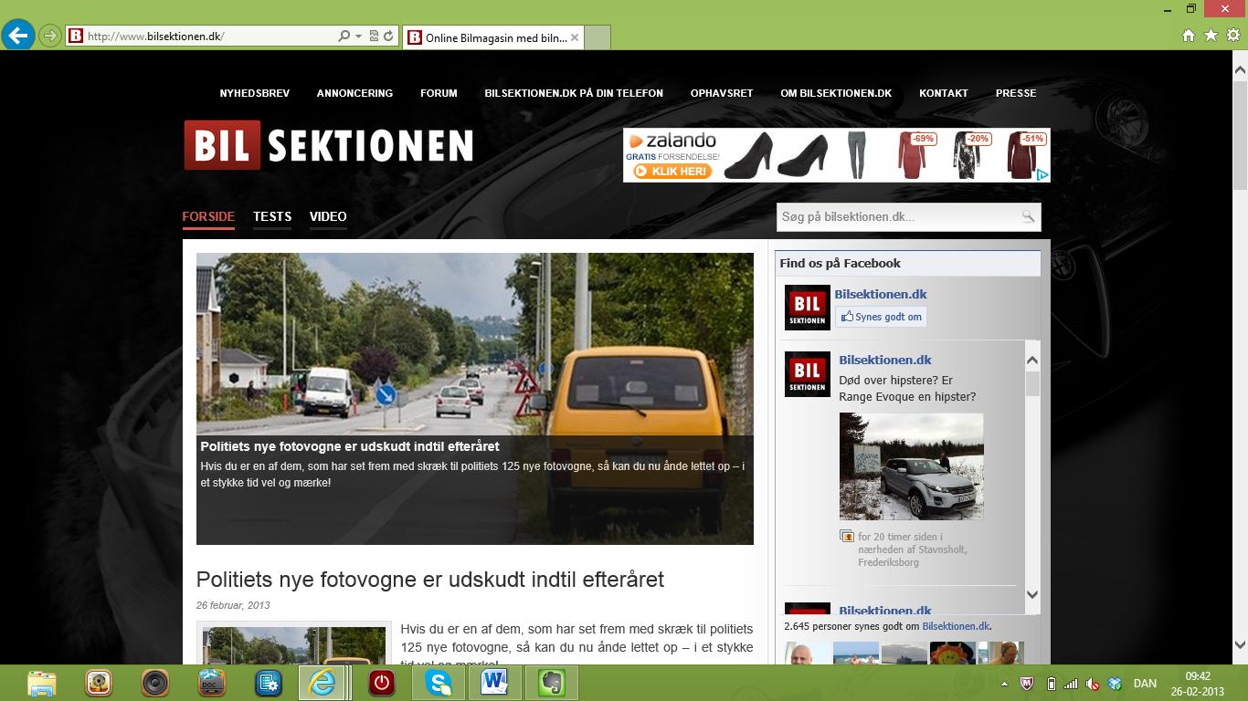 Fart over feltet på Bilsektionen.dk