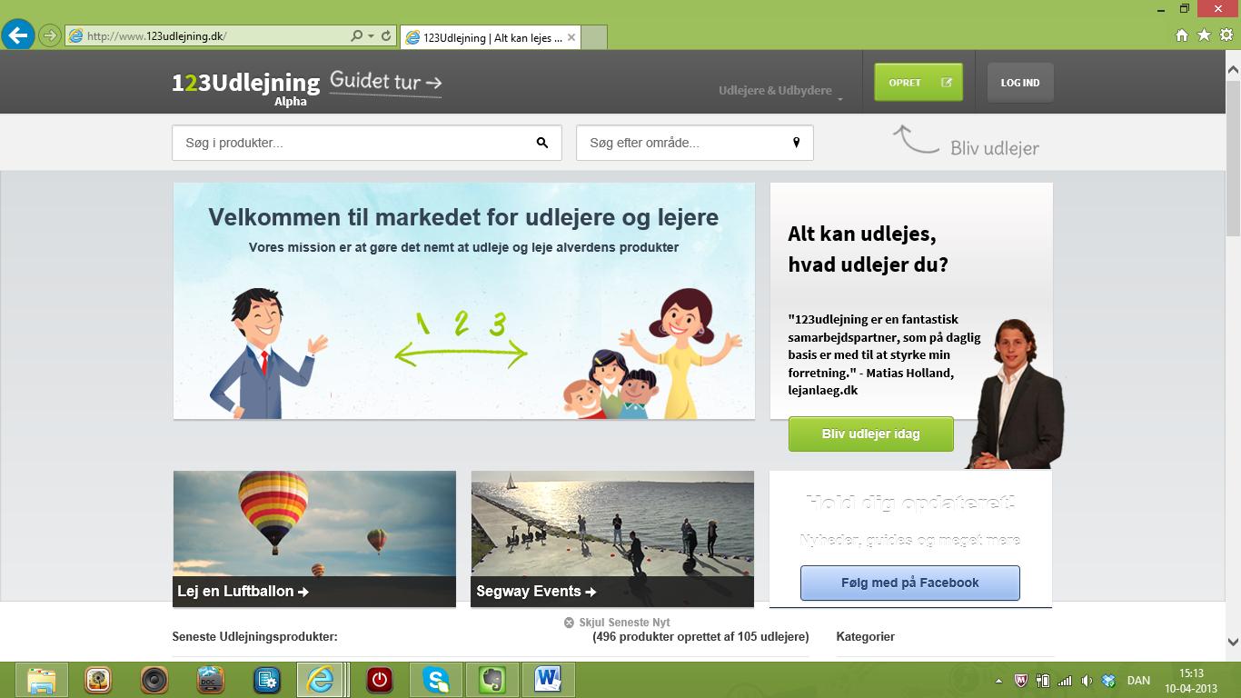 123udlejning.dk – en webbaseret markedsplads for lejere og udlejere