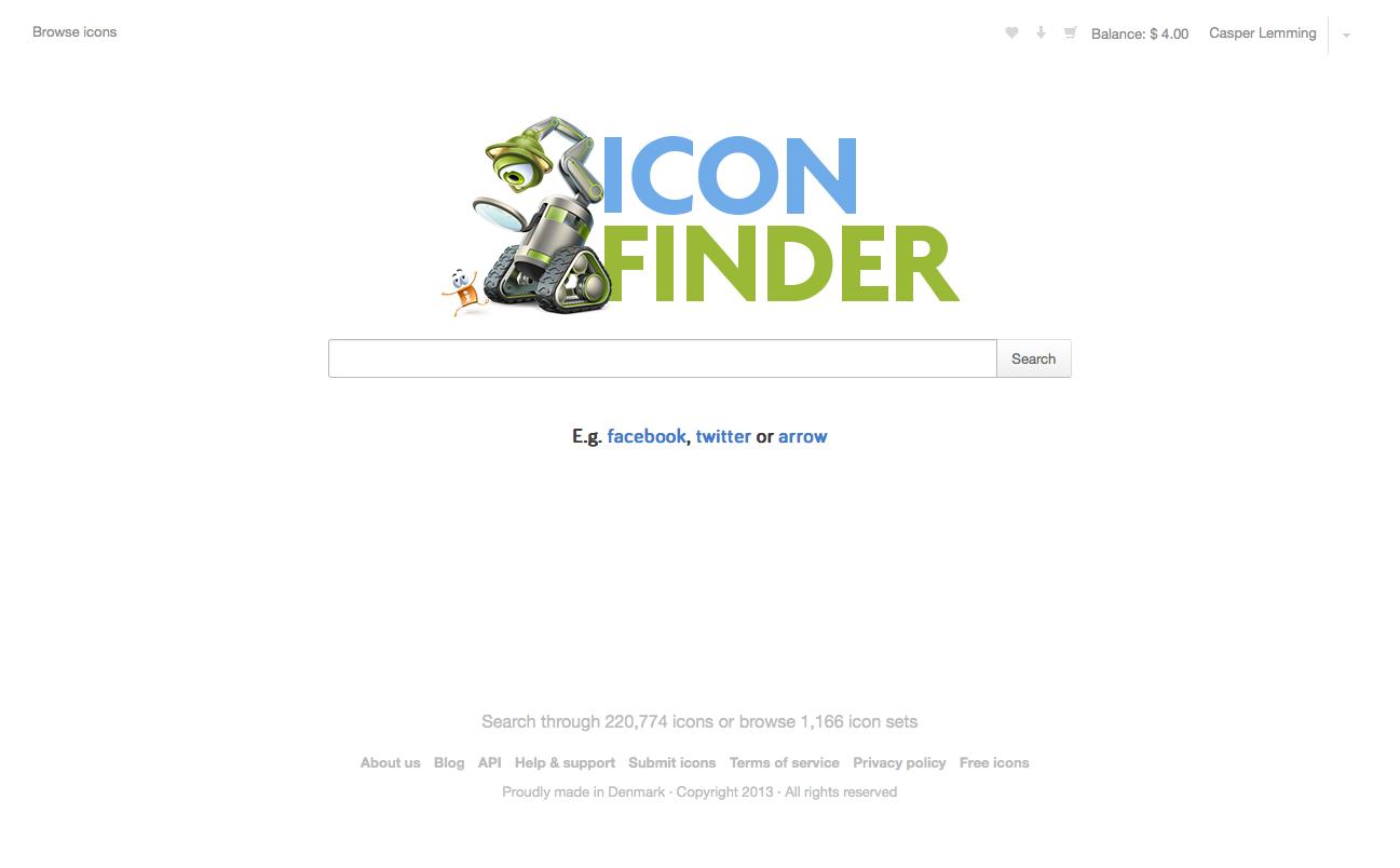 Iconfinder parat med markedsplads