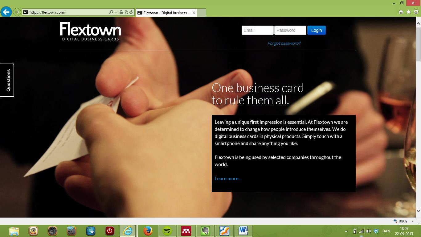 Flextown innoverer og digitaliserer visitkortet
